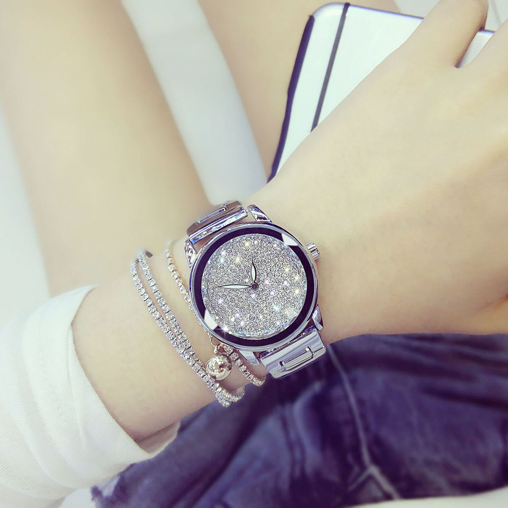 Fashion Luxury Women Watch Rhinestone Crystal Dial Quartz Wrist Watches Women Dress Bracelet Watch Gift