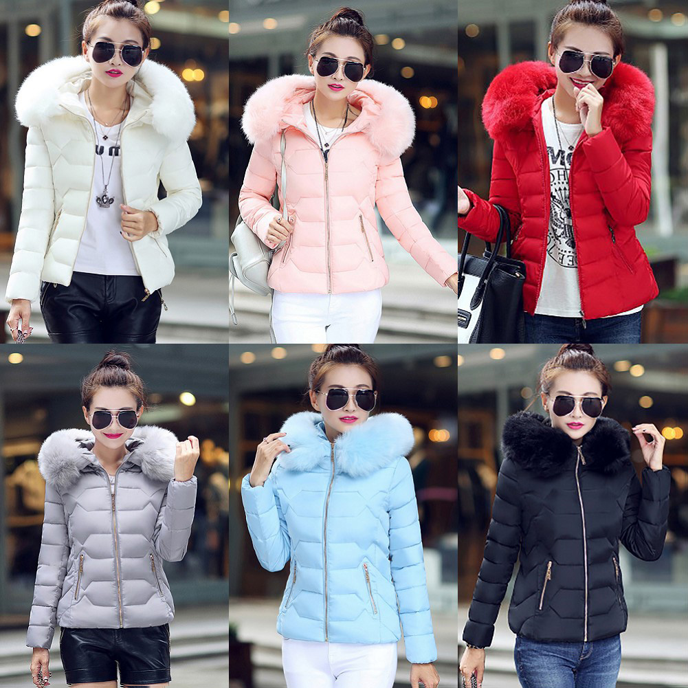 2017 Fashion Women Cotton Warm Jacket Short Fur Collar Hooded Coat Winter