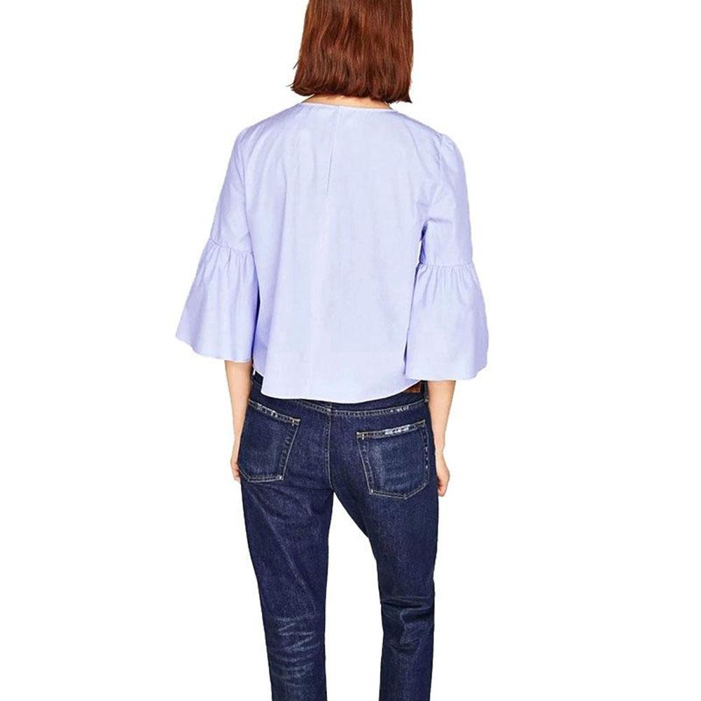 Fashion Women's Long Sleeve Cotton Blouse Shirt T-shirt Summer Tops Casual