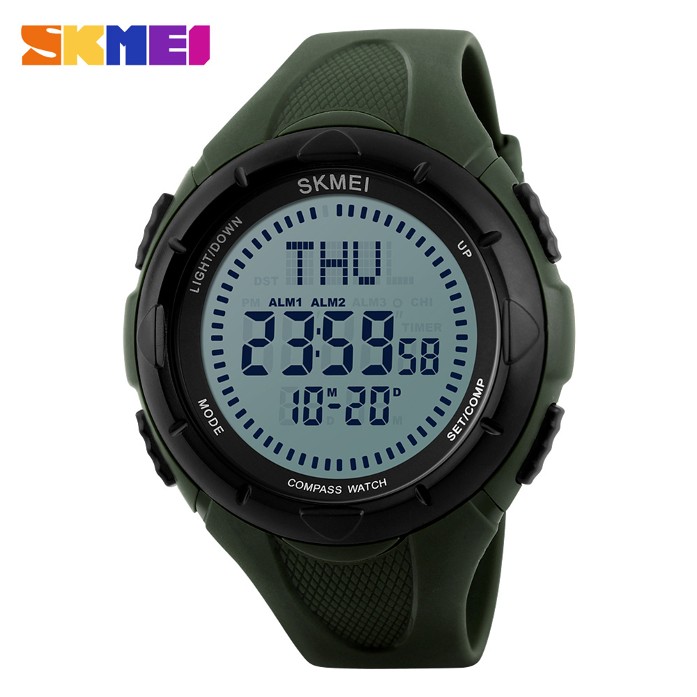 Mens Outdoor Sports Compass Watch LED Digital Waterproof Military Quartz Analog Climbing Wristwatches