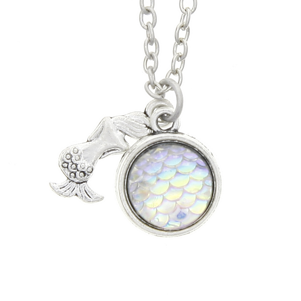 Fashion Holographic Fish Mermaid Scale Sequins Rainbow Pendant Chain Necklace Charm Statement Women Jewelry Gift