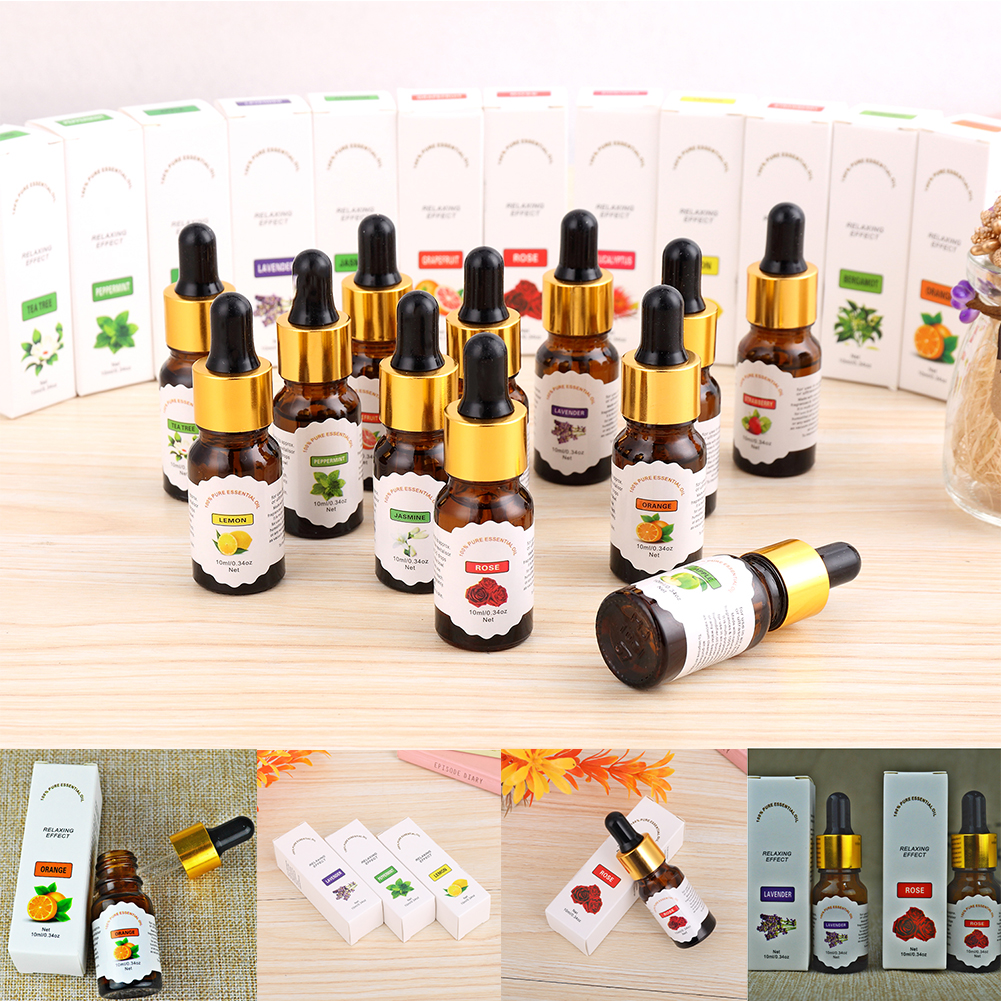 10ml Women Beauty Pure & Natural Fruit Plant Essential Aromatherapy Oils Water Soluble Oil For Humidifier in Box