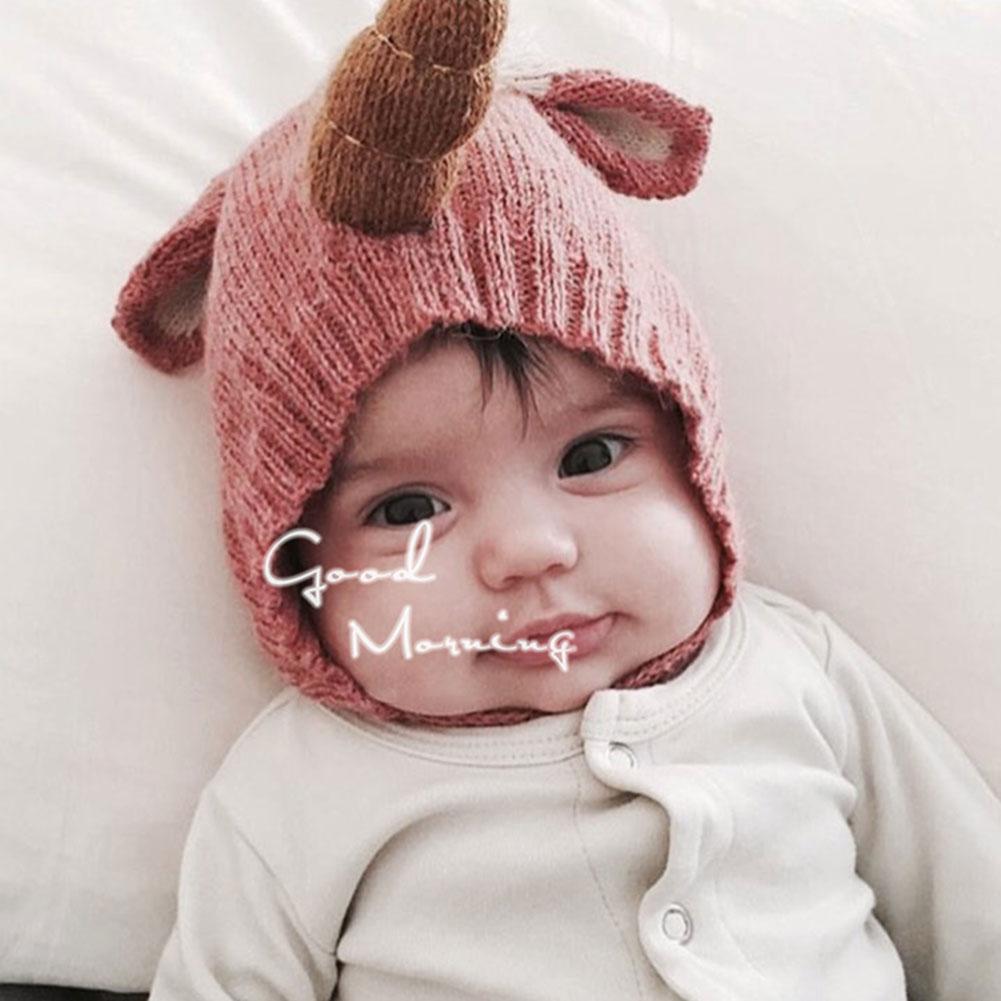 Fashion Baby Girl Boy Unicorn Cartoon Cute Warm Knitted Hat Bebe Headwear Accessories 6-36 Months