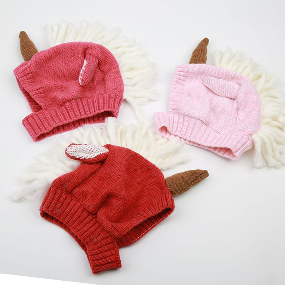 Fashion Baby Girl Boy Unicorn Cartoon Cute Warm Knitted Hat Bebe Headwear Accessories 6-36 Months