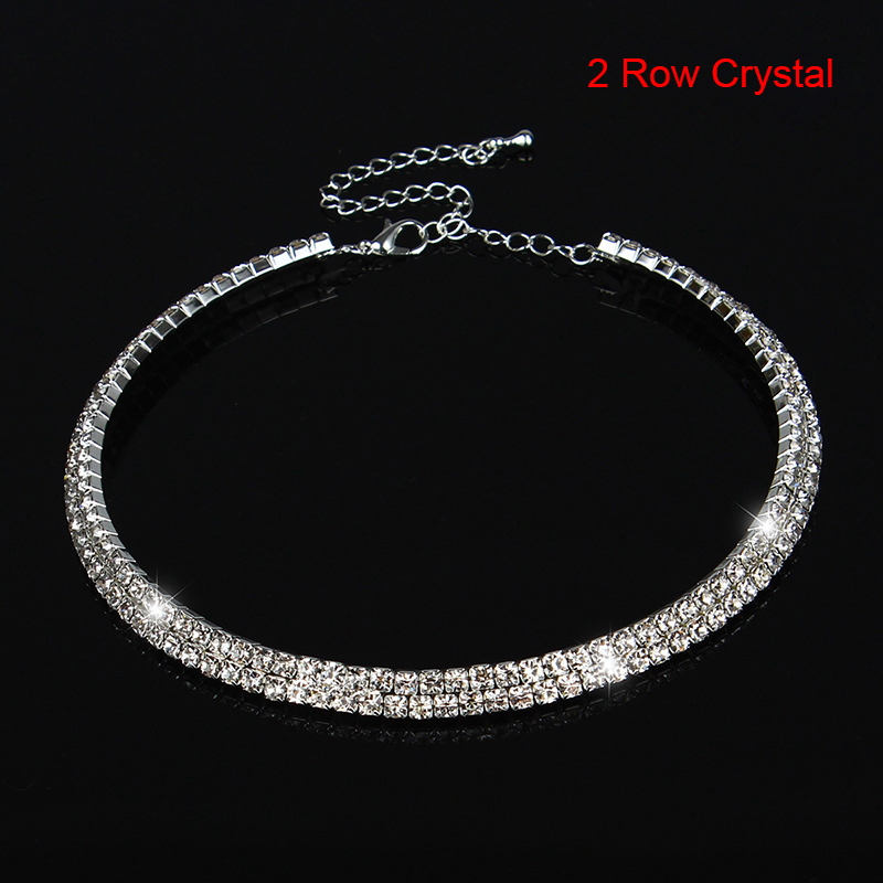Women Rhinestone Crystal Diamond Choker Collar Silver Plated Bridal Wedding Chain Necklace Jewelry