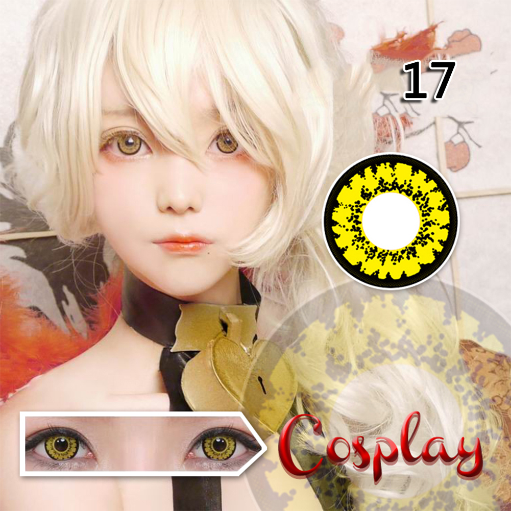 1 Pair Coloured Cosmetic Makeup Lenses for Cosplay Crazy Halloween Circle Lens Xmas Party Supply