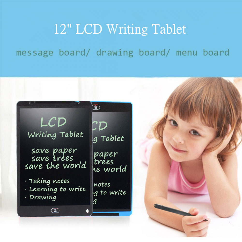 "Environmental 12"" LCD Writing Tablet Drawing Board Paperless Memo Message Board"