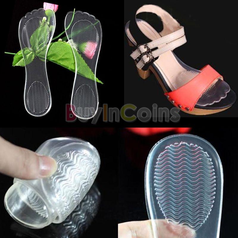 1pair Girl High Heel Silicone Gel Cushion Insole Shoe Anti Slip Feet Pad Transparent