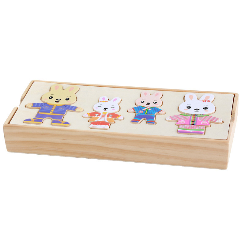 Creative Bear Rabbit Changing Clothes Wooden Puzzle Set Baby Children Educational Toys Gift