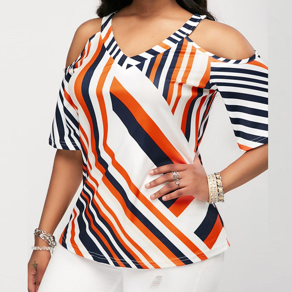 Sexy Women Shirt Tops and Blouses Cold Shoulder Tops Half Sleeve V-neck Striped Autumn Shirts Women Casual blouses 2018 Femelle