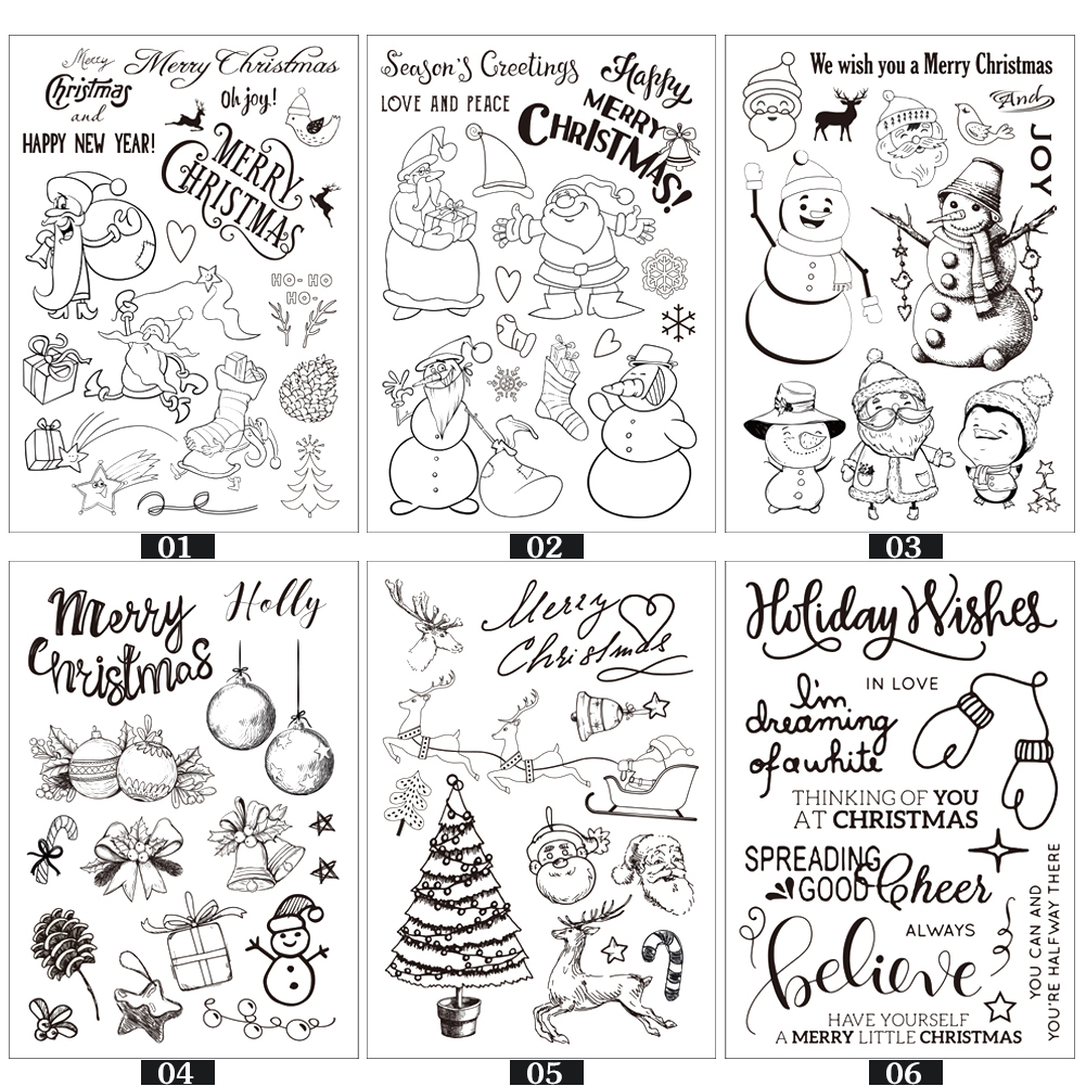 Christmas Series Pattern Transparent Rubber Stamp Seal DIY Album Craft Scrapbooking Decor