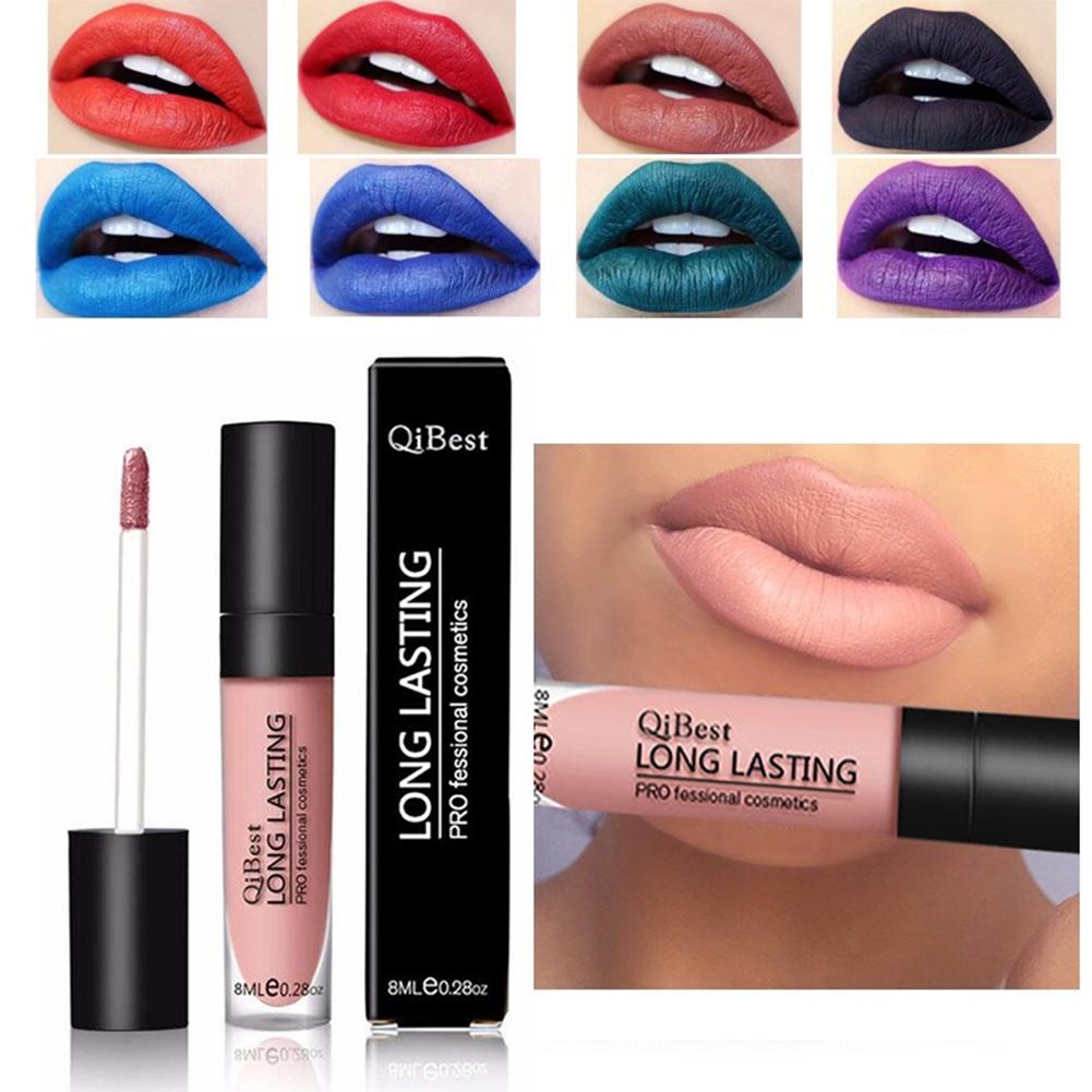 QiBest 12 Color Long Lasting Lip Gloss Matte Lipgloss Waterproof Lip Tattoo Blue Lip Cream Black Retro Red Batom Nude Makeup