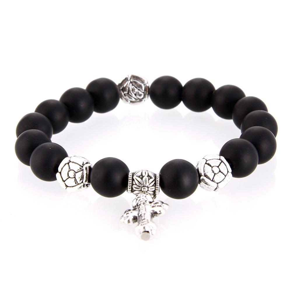 Natural Cross Blackstone Bracelet Gemstone Beads Stylish Elegant Quality Women