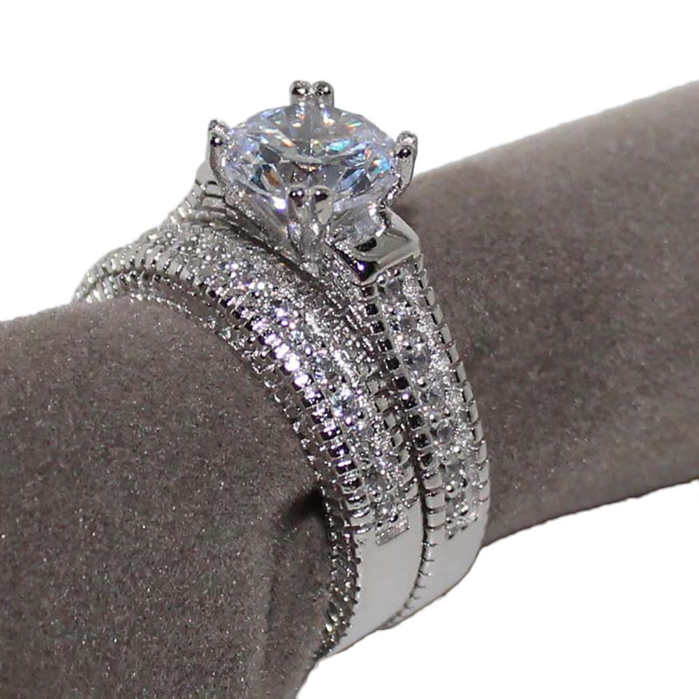 2 Pcs Sterling Silver Round Cut Clear CZ Diamond Crystal Rhinestones Wedding Bridal Ring Set Jewelry
