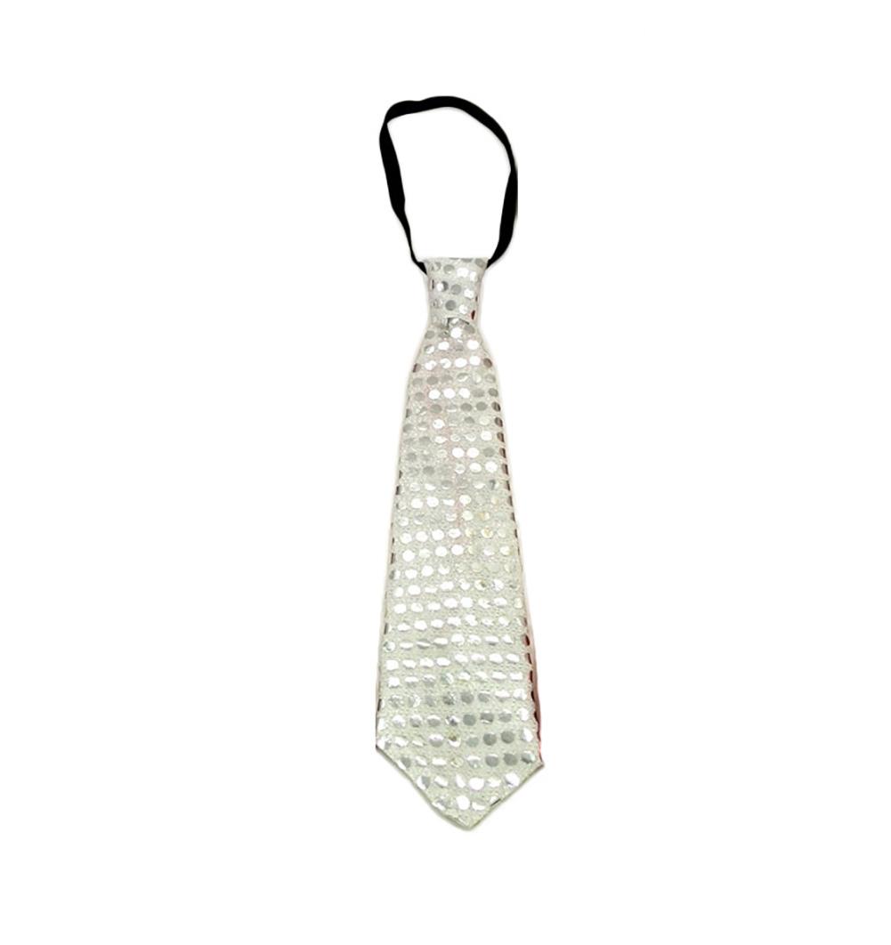 LED Unisex Sparkly Elasticated Glitter Sequins Light Up Necktie Blinking Flash Tie Flash Lighting Tie Party Show