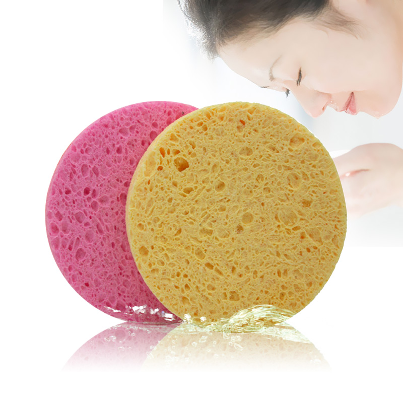 4Pcs Natural Wood Fiber Face Wash Cleansing Round Sponge Beauty Makeup Tools