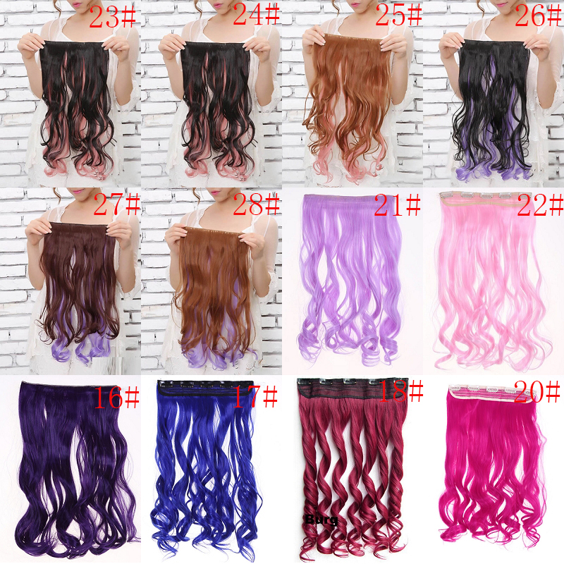 24'' Long Wavy Curly Synthetic Hair Gradient Color 5 Clips Hair Extensions