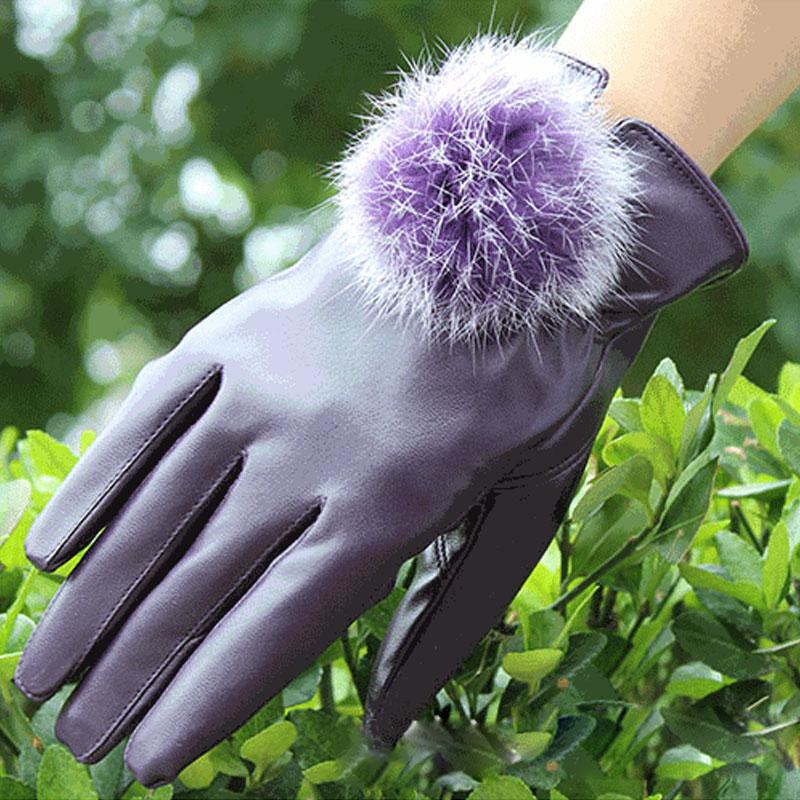 Fashion Women Girls Winter Soft Leather Mitten Gloves Warm Driving Gift