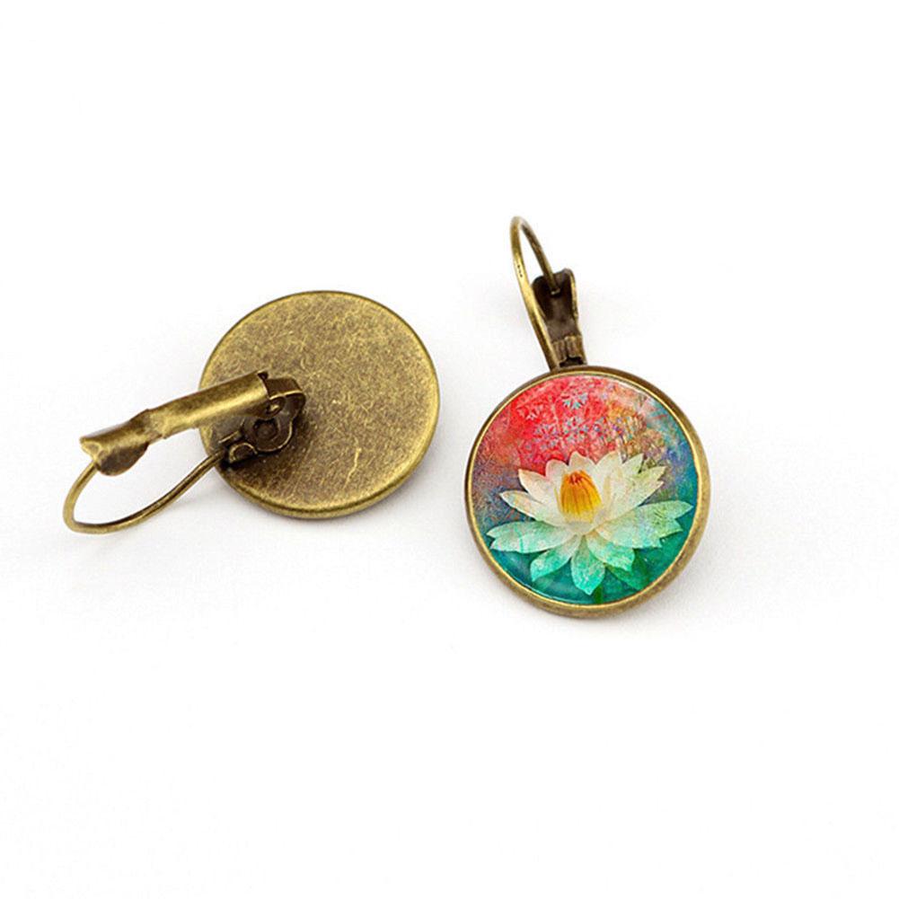 Elegant Round Ear Stud Vintage Crystal Glass Flower Hoop Earrings Women Lady Girls Boho Jewelry