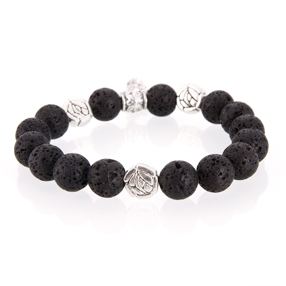 Natural Cross Volcanic Stone Bracelet Gemstone Beads Stylish Elegant Quality Women
