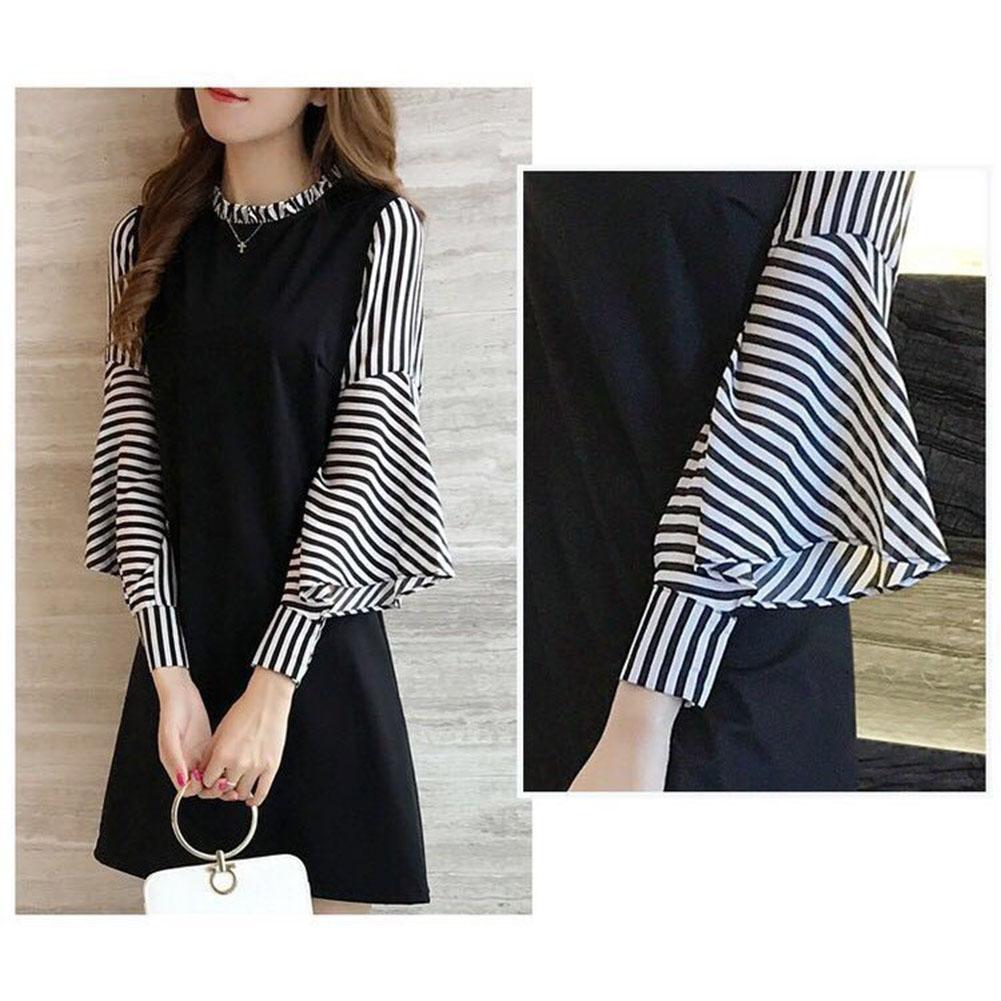 Fashion Women Stripe Dress Sexy Long Sleeve Midi Dressess Plus Size M-XXL
