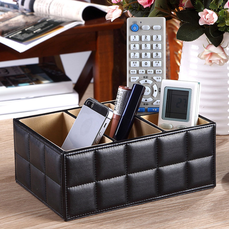 Vogue PU Leather Storage Box Home Desk Organizer Holder for Phone/TV Remote Control