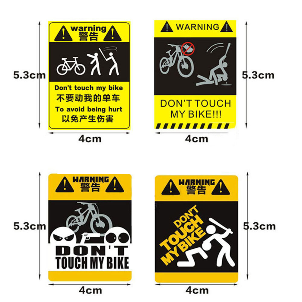 Don't Touche My Bike Single - vehicle Warnning Sticker Bicycle MTB Frame Sticker Cycling Decorative Reflective Paste