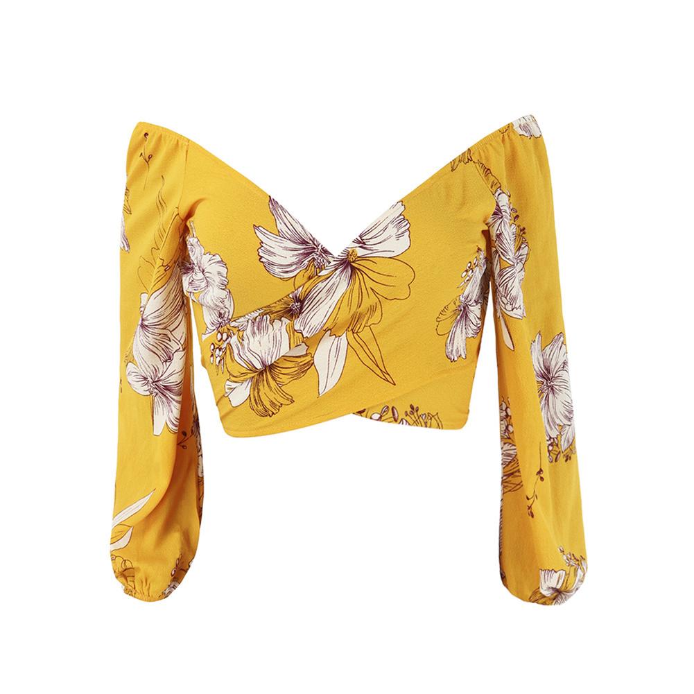 New Ladies Women Blouse Long Sleeve Shirt Yellow Printing V-Neck Short Chiffon Tops