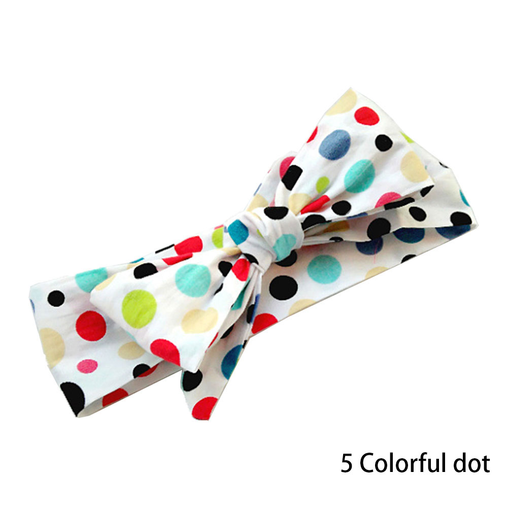 7 Colors Baby Girl Cotton Cloth Dot Stripped Big Bow Headband Newborn Hair Accessories Photography Props