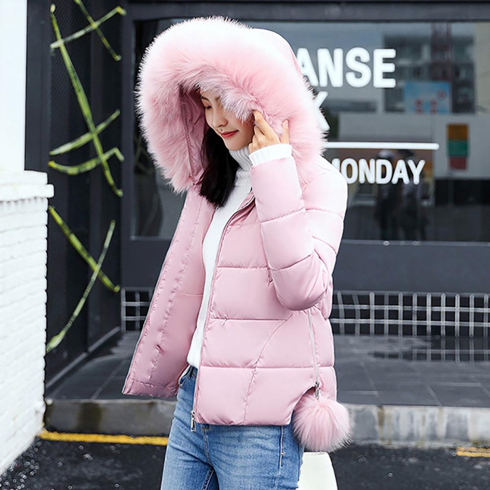 2017 Fashion Women Coat Jacket Parka Short Fur Collar Hooded Down Cotton Winter