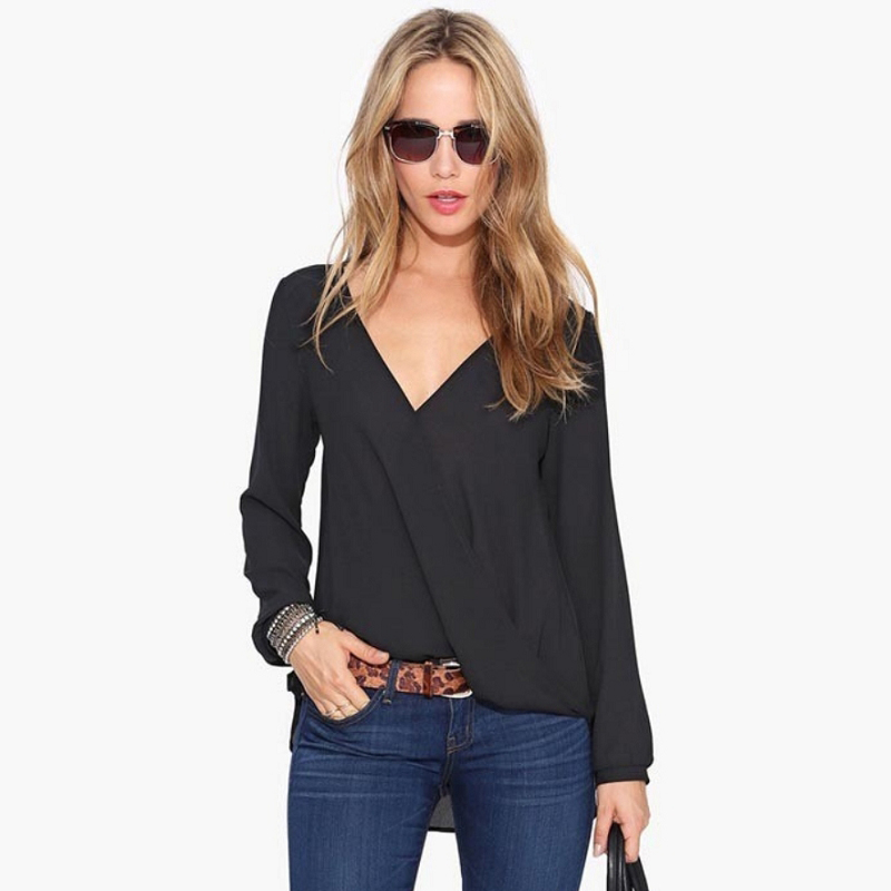 Fashion Women Long Sleeve V Neck Chiffon Blouse Basic Style T Shirt Tops Slim Casual