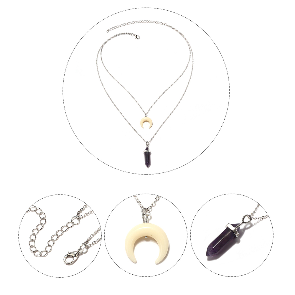 Fashion Crescent Crystal Pendant Choker Chain Simple Double Layer Necklace Women Jewelry Gift