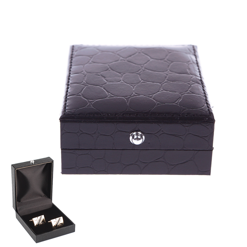 Leather Cufflinks Box Gift Jewelry Storage Case Organizer Display Cuff Box #02