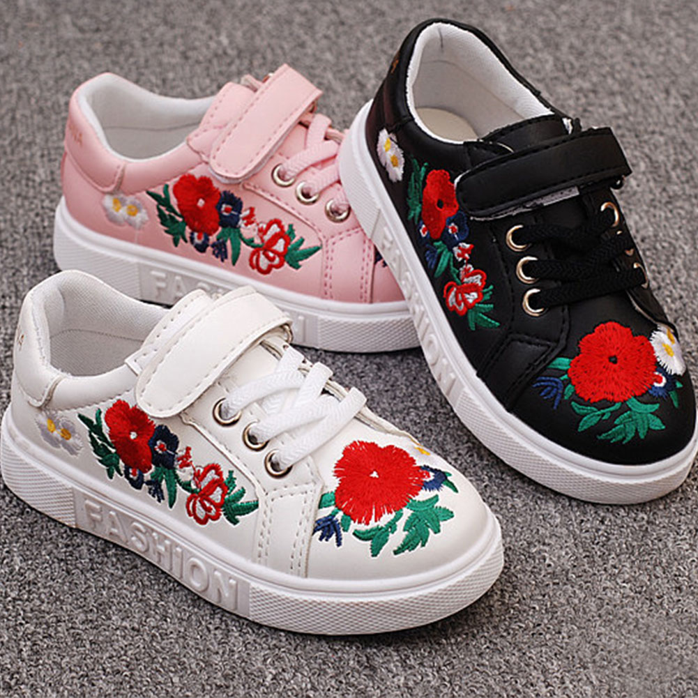 Autumn Children's Shoes Girls Sneakers Fashion Casual Shoes With Flower Hand Embroidery Children Girls Breathable Shoes