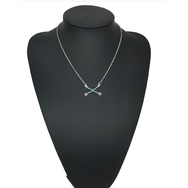 Vintage Silver Bohemian Ethnic Natural Turquoise Arrow Pendant Choker Necklace