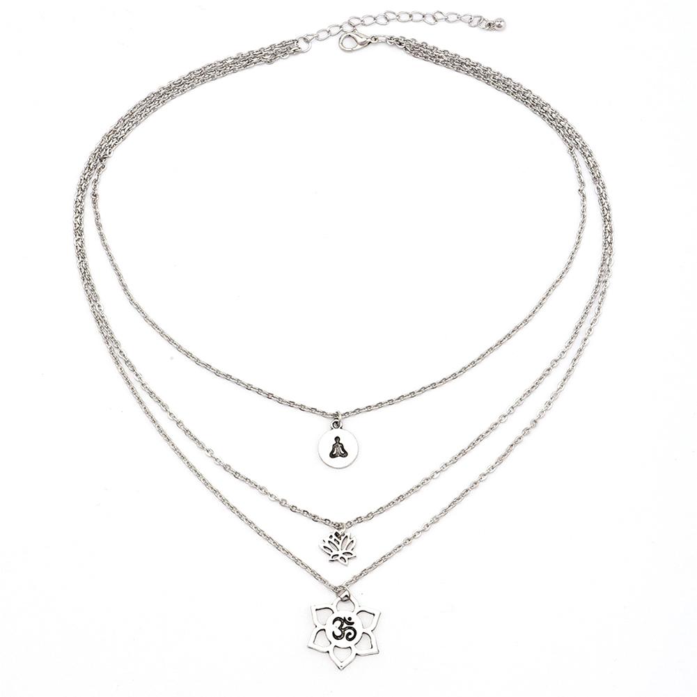 Lotus Pendant Choker Necklace 3 Layer Silver Chain Women's Fashion Boho Jewelry Gift
