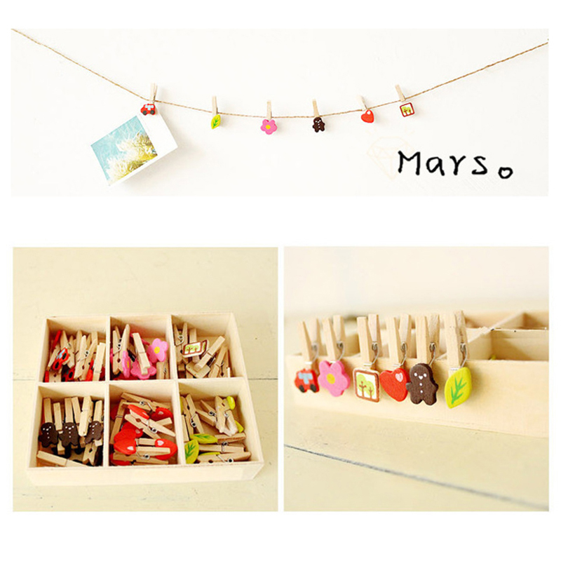 DIY Decorative Wooden Pegs Mini Craft Wooden Clips Cute Mini Paper Photo Clips