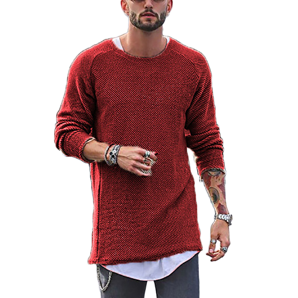 Men Sweater Leisure Knitted Crewneck Baggy Long Sleeve Hip-Hop Solid Color Casual Pullover