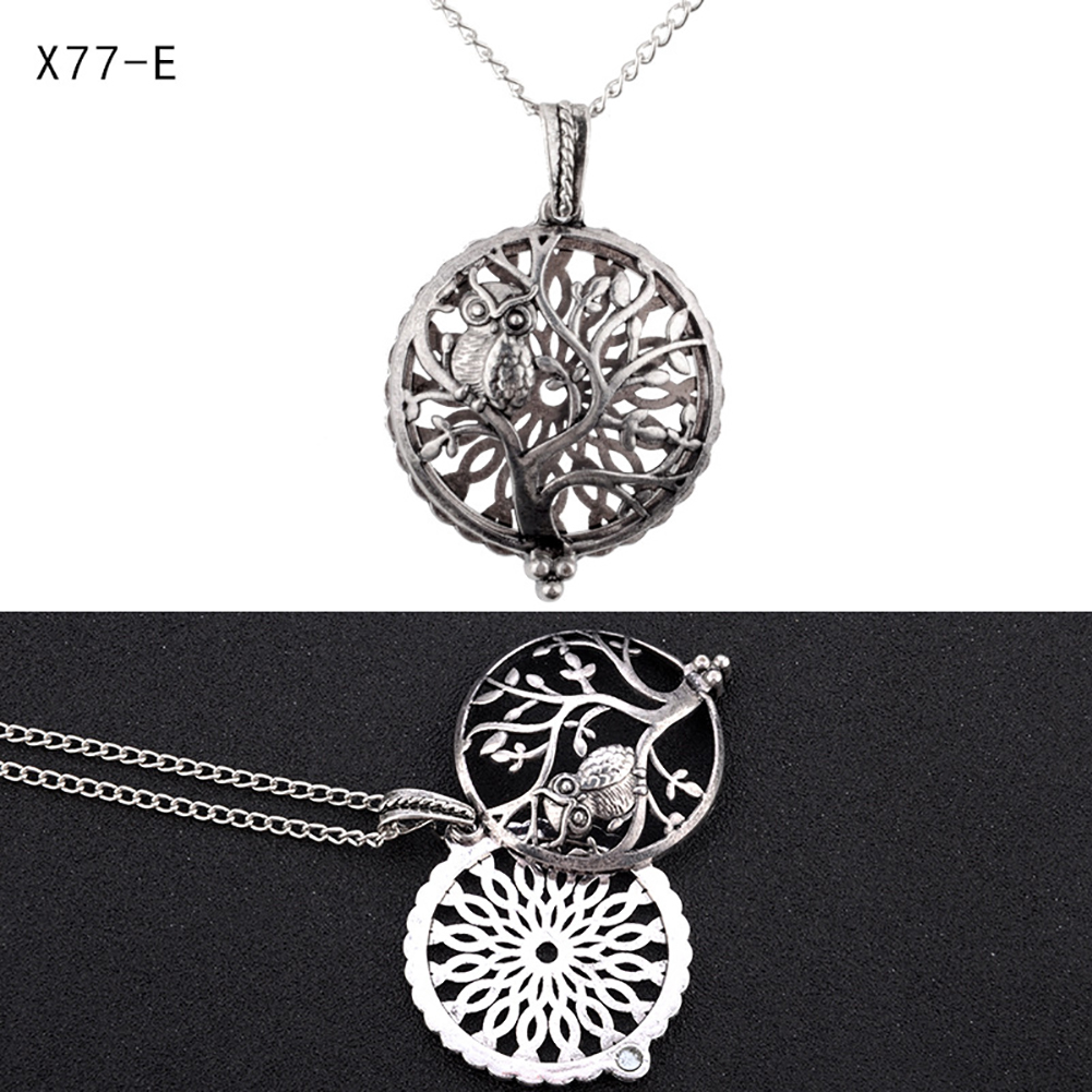 Womens Fashion DIY Aromatherapy Essential Oil Round Diffuser Perfume Locket Necklace Silver Chain Hollow Necklace