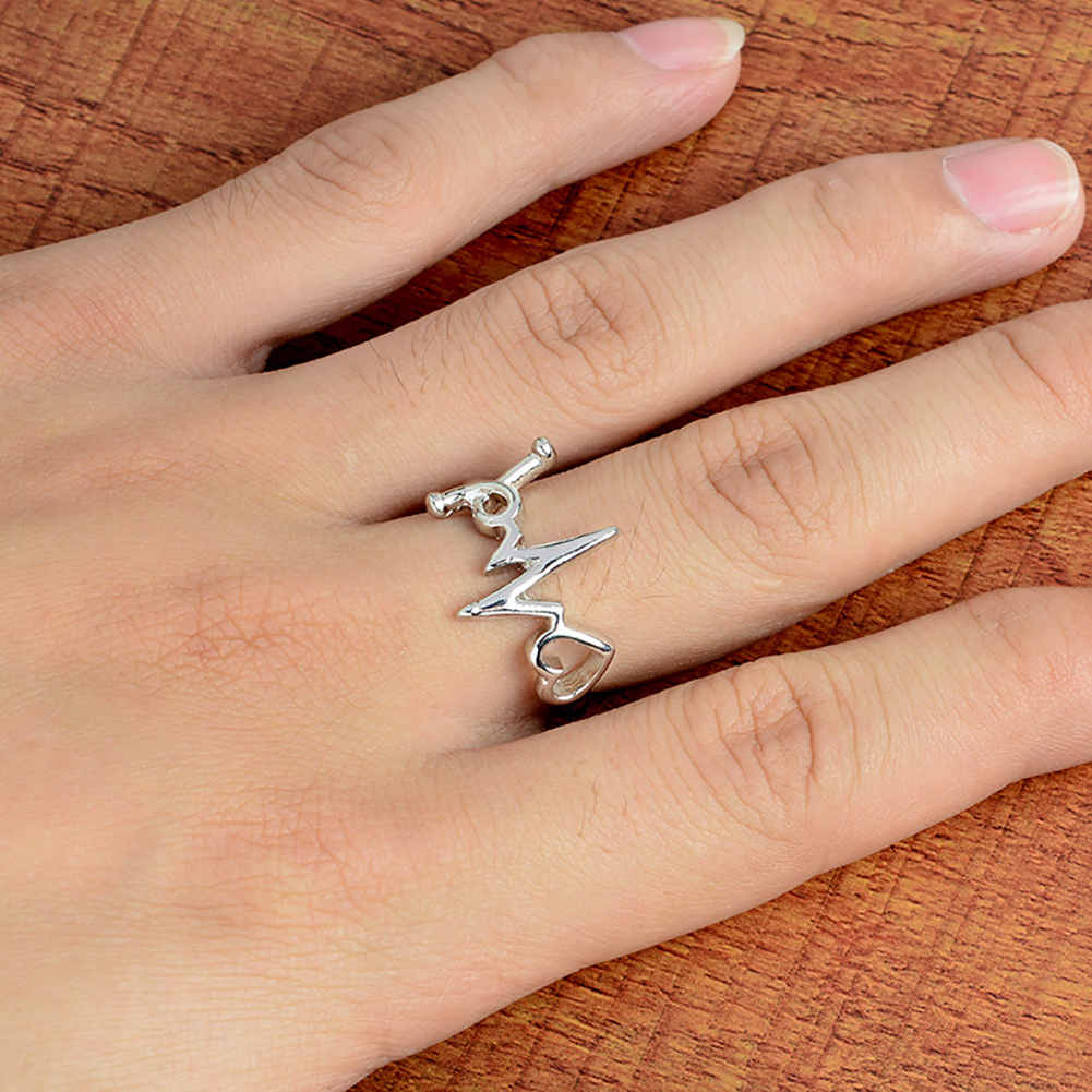 Fashion Doctor Nurse Hollow Love Heart ECG Ring Open Adjustable Finger Band Rings Jewelry