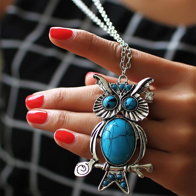 Women Retro Turquoise Rhinestone OWL Pendant Long Chain Necklace Jewelery Silver