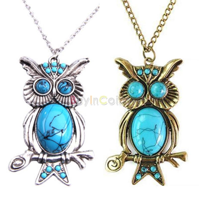 Women Retro Turquoise Rhinestone OWL Pendant Long Chain Necklace Jewelery Silver