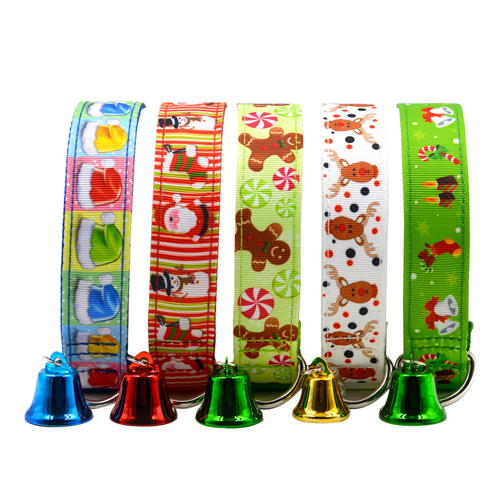 Christmas Puppy Pet Traction Rope Adjustable Bowknot Bell Necklace Buckle Strap