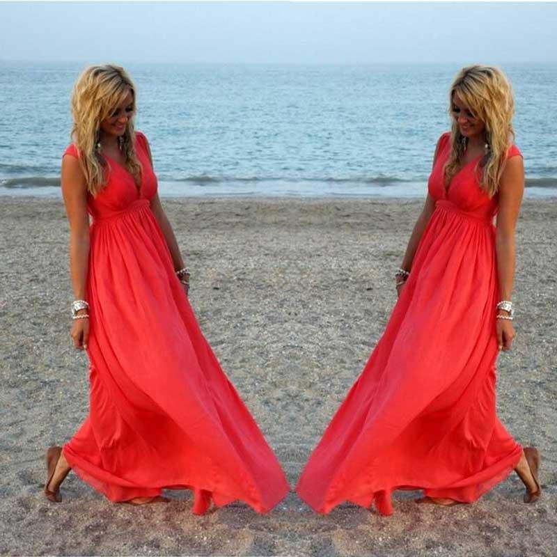 Sexy Women Summer Boho Long Maxi Evening Party V Neck Beach Chiffon Dress