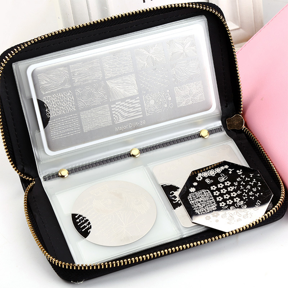 Nail Stamping Plate Holder Case 24 Slots Round Square Rectangular Nail Art Plate Organizer Bag New