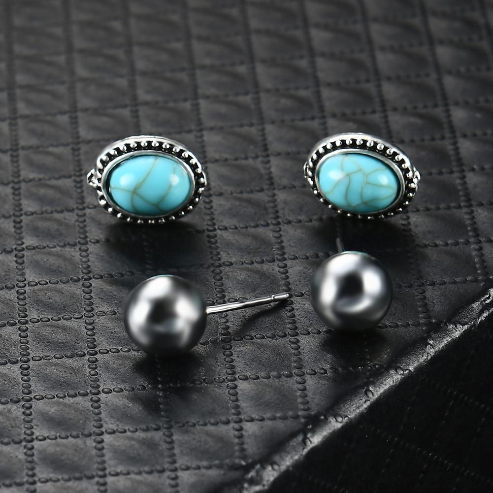 6 Pairs/Set Turquoise Heart Feather Multi-element Ear Stud Crystal Diamond Earrings Women Fashion Jewelry Hot