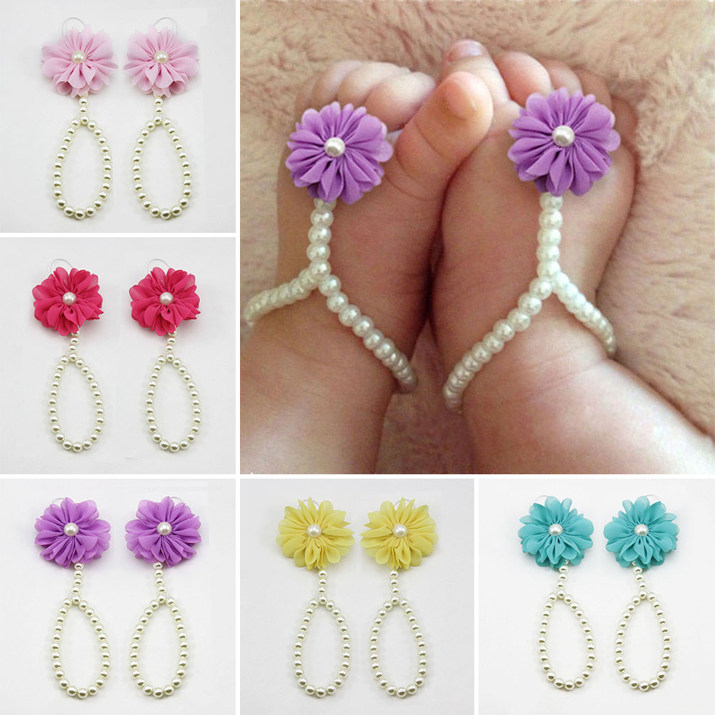 Fashion Baby Pearl Chiffon Barefoot Toddler Foot Flower Beach Sandals Anklet Chain