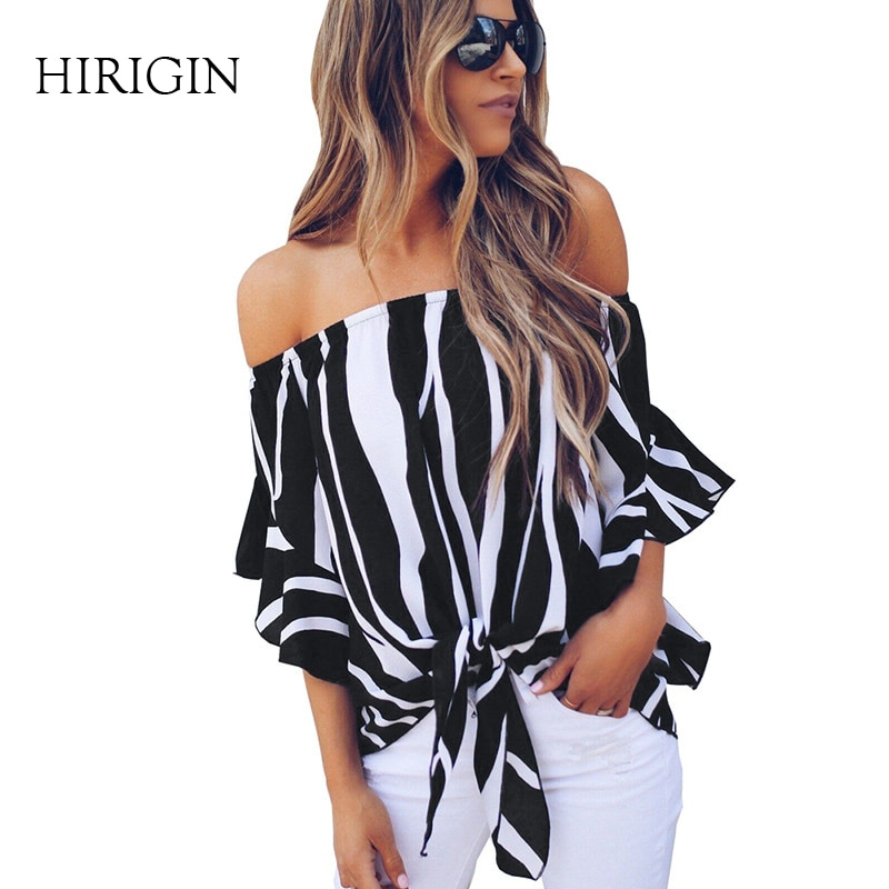 2018 summer Women blouse Long Sleeve Blouses Casual Loose Big Size Stripped Long shirts Top Ladies  Top off the shoulder