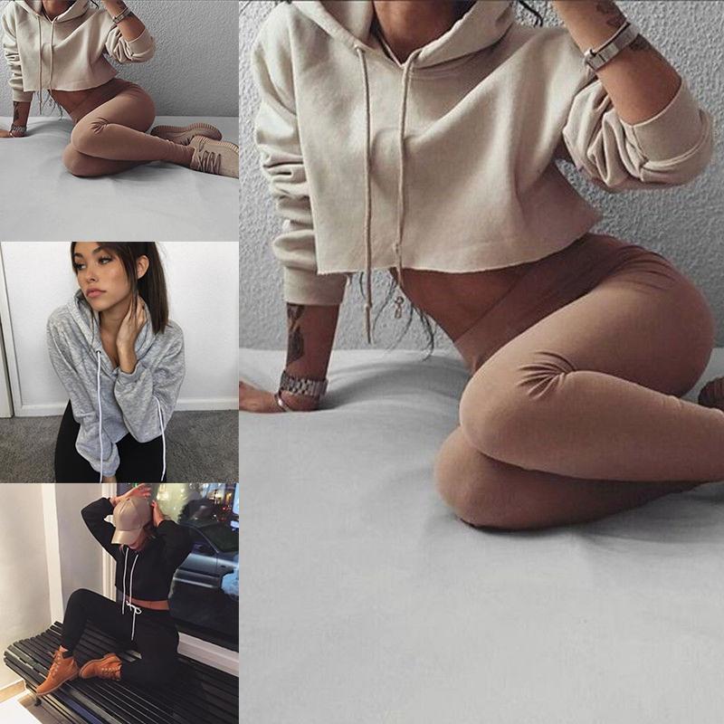 New Fashion Sexy Women Crop Top Hoodies Sweater Long Sleeve Sweatshirt Casual Tops