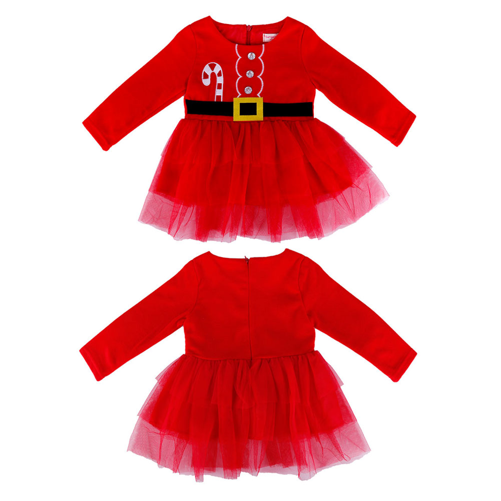 Newborn baby girl happy Christmas red romper bodysuit jumpsuit playsuit girl clothing